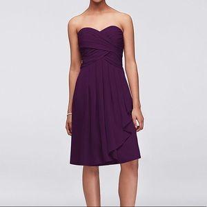 David's Bridal knee-length chiffon dress in plum